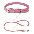 Rolled Super Soft Collar & Lead made with Italian Leather : PINK