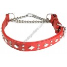 "Adjustable PADDED Half check Leather Dog Collar  width 1""(2.5 cm)"