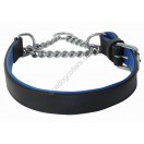 "Adjustable PADDED Half check Leather Dog Collar small width 1""(2.5 cm): Black with Blue lining"