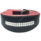 Comfy Leather Dog Collar with two rows of SWAROVSKI crystals