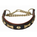 Comfy Half Check Leather Dog Collar BRASS fittings