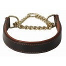 Comfy Half Check Leather Dog Collar BRASS Chain: Brown tan lining