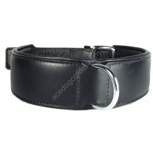 "30""  Plain Padded  Leather Dog Collar Chrome fittings  - fits neck sizes from 24"" to 28"" (width 2""), Black with black lining)"