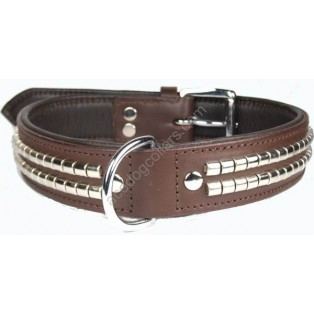 Dark Brown Leather Dog Collar with CHROME Studs