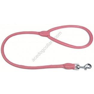 "Rolled super soft  LEATHER LEAD length  44"" (110cm)   Pink"