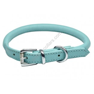 Super Soft Best Rolled Leather Dog Collar : Baby Blue