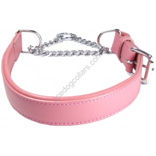 "Adjustable PADDED Half check Leather Dog Collar small width 1""(2.5cm)"