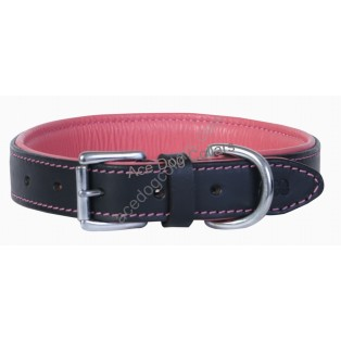 Plain Padded  Leather Dog Collar Chrome fittings: Black pink