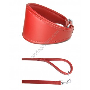 "MATCHING  Ace Traditional Leather Dog Collar  &  Comfy Lead Padded Handel 44"" Long"
