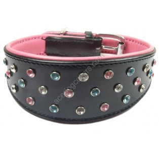 Genuine Leather Dog Collar with Diamante: Black Lined with Soft pink leather