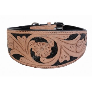 Handcrafted ~ Comfy Leather Dog Collar: black