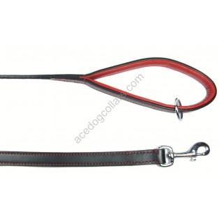 "COMFY Leather Lead with a PADDED leather handle - length 110 cm (44""): Black with Red Lining"