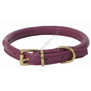 Super Soft Best Rolled Leather Dog Collar : Purple (Brass Buckle)