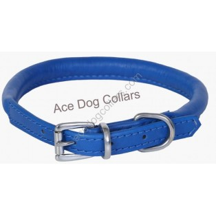 Super Soft Best Rolled Leather Dog Collar : Dark Blue