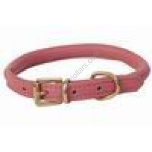 Super Soft Best Rolled Leather Dog Collar : Pink (Brass Buckle)