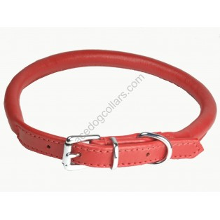 Super Soft Best Rolled Leather Dog Collar : Red