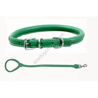 Rolled Super Soft Collar & Lead made with Italian Leather : Green