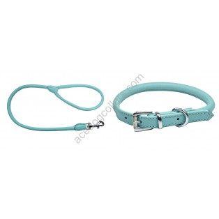 Rolled Super Soft Collar & Lead made with Italian Leather : Baby Blue