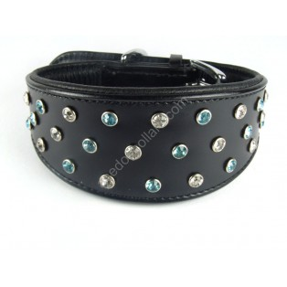 Genuine Leather Dog Collar with Diamante