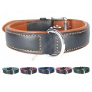 Ace Comfy LEATHER DOG COLLAR Padded And lined with soft Lamb's Leather (Tan, Baby Blue, Purple, Blue, Pink, Green)